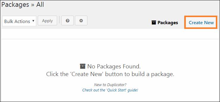 新しいパッケージを作るために「Create New」ボタンを押す