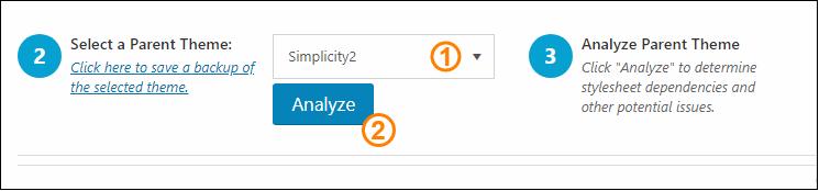 作成する子テーマを選び、「Analyze」ボタンをクリック