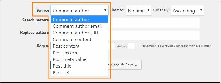 Search Regexp - 検索・置換オプション