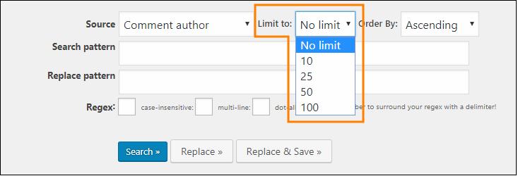 Search Regexp - 結果を何件まで表示するかは「Limit to」から選択