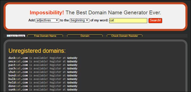 形容詞・動詞・名詞からドメイン名を自動性背デキルサービス Impossibility! のトップページ
