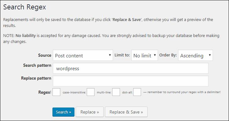 Search Regexp の検索・置換画面