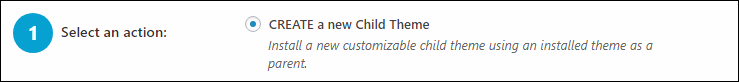 「CREATE a new Child Theme」にチェックを入れた様子