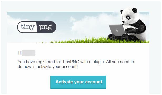 TinyPNGアカウント登録すると、こんなメールが届くのでリンクをクリックしてアカウント確認