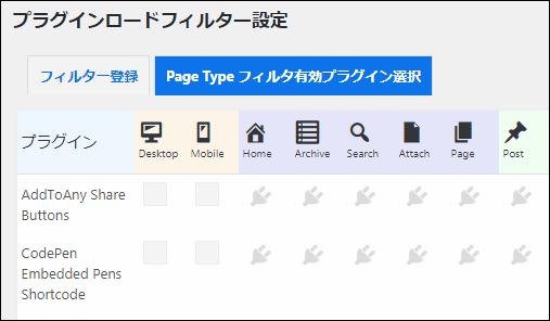 各プラグインをどのページのみで有効化するかを設定する画面
