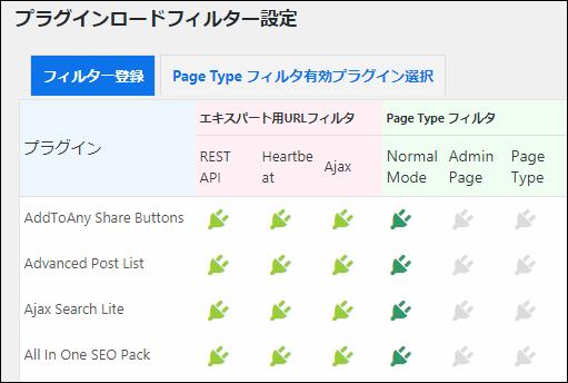 プラグインロードフィルター設定画面。ここからどのプラグインをフィルター対象にするか選べる
