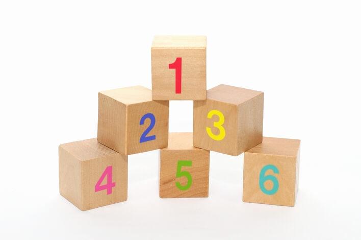 WordPress Popular Posts に順位番号を表示することをイメージした数字が書かれた積み木の画像
