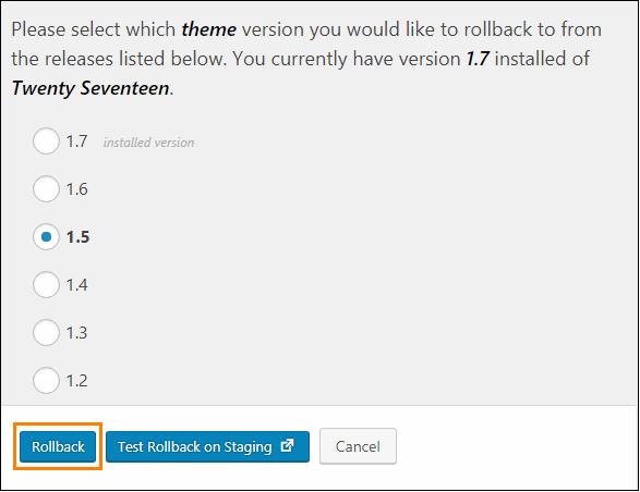 「Rollback」ボタンを押すと、前バージョン一覧が表示される。その中から戻したいバージョンを選択して「Rollback」を押せばダウングレードできる