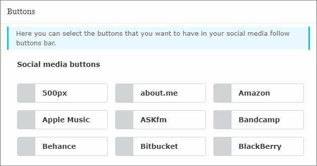 WordPress記事内に設置するSNSボタンの選択画面