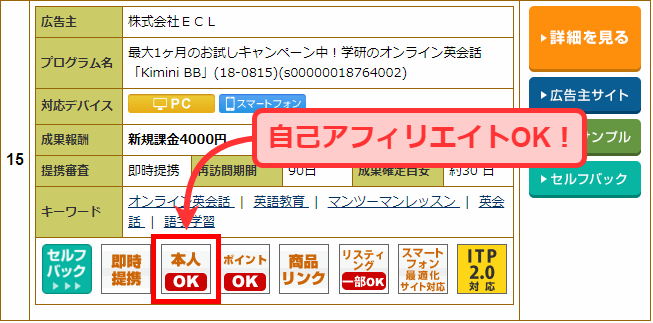 A8.netでの自己アフィリエイト可能なプログラムの例