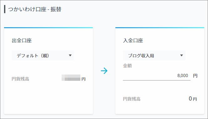 使い分け口座の振替画面。左で出金口座を選択、右で入金先口座名と振り込み額を入力する
