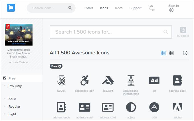 FontAwesomeのアイコン検索画面トップ