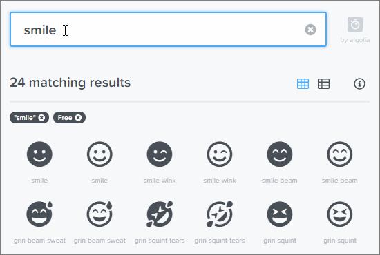 FontAwesomeの検索画面で探したいアイコンのキーワード(日本語は不可)を入力している様子