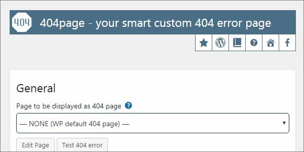 404pageプラグインの設定画面。ここから固定ページを404ページに設定できる