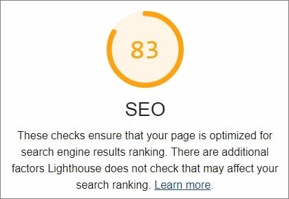 Lighthouse - SEOスコアが0~100の間で表示される。あと問題点とか改善点も確認できて便利!