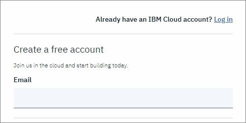 IMB Cloud アカウント登録画面でメルアドを入力