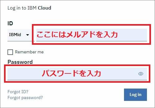 IMBM Cloud にログインするには登録メルアドとパスワードを入力すればOK
