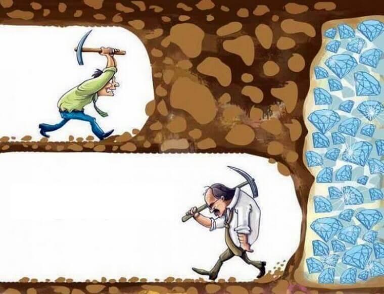 あと少しでダイヤが掘れたのに諦める人の図。ブログでもこういう感じで挫折していく人が多い