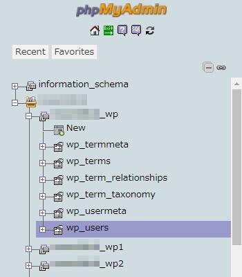 WordPressで使われているデータベースを転嫁し、その中から「wp_users」テーブルをクリック