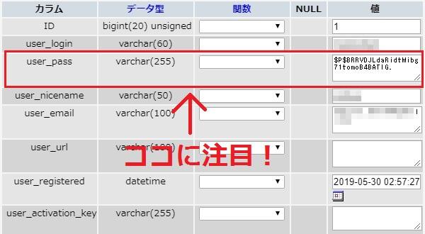 wp_usersテーブルの「user_pass」というカラムに注目!ここでWordPressパスワードを記録している