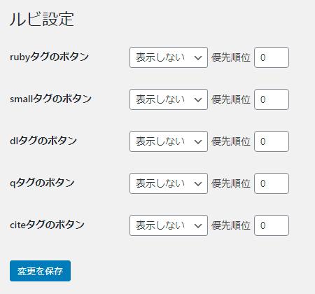 WP-yomiganaの設定画面。ここから読みがなボタンを有効化できる